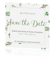 Trendy save the date in botanical stijl