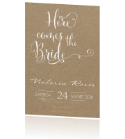 Trendy bridal shower uitnodiging in kalligrafie en taupe