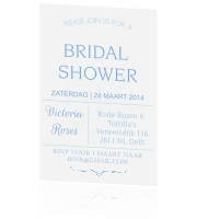 Bridal shower kaart in blauw