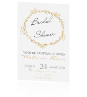 Trendy bridal shower uitnodiging met krans in goud
