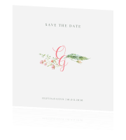Chic chic chic | save the datekaart met bloemen en takjes