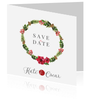 Christmas Save the date kaart met mooie krans