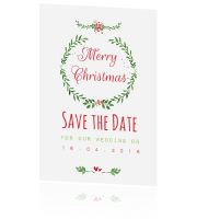 Trendy Save the date kerstkaart in watercolor!