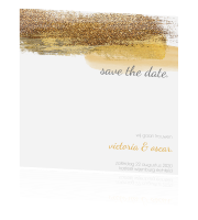 Chique save the date kaart met verfstreken