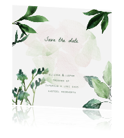 Save the date kaart met botanisch design