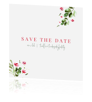 Save the date kaart  met klaproos
