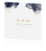 Save the date met watercolor en getekende bloemen