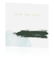 Trendy save the date met verfstrepen pastel