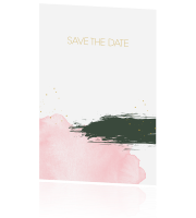 Trendy save the date met verfstrepen