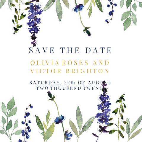 Blueberry chic | save the date kaart