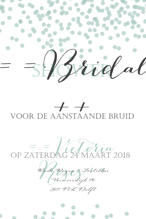 Trendy bridal shower uitnodiging met een chique design