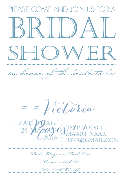 Bridal shower kaart in typografiestjil