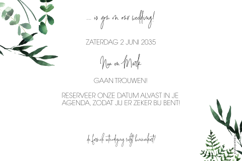 Save the date met goudfolie