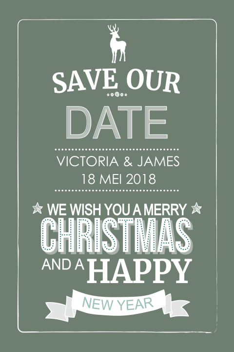 Trendy save the date kerstkaart in typografie