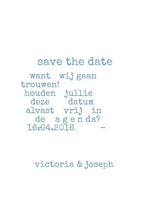 Mooi chique save the date kaartje