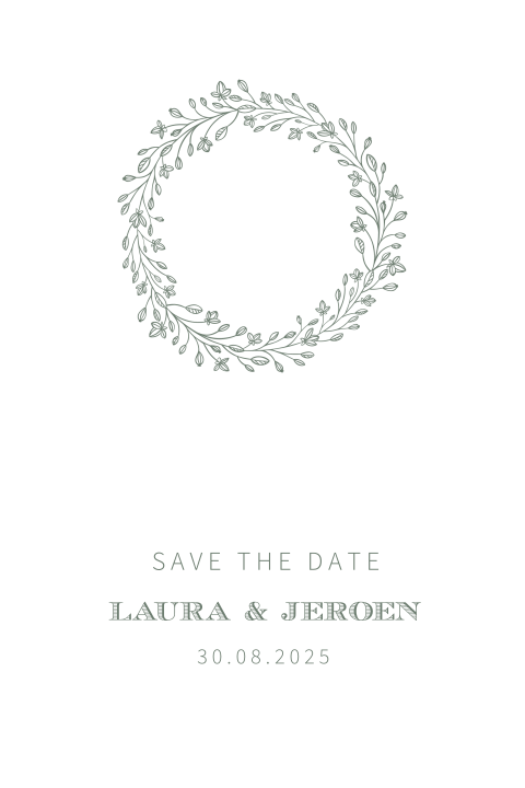 Chic wreath | save the date kaart