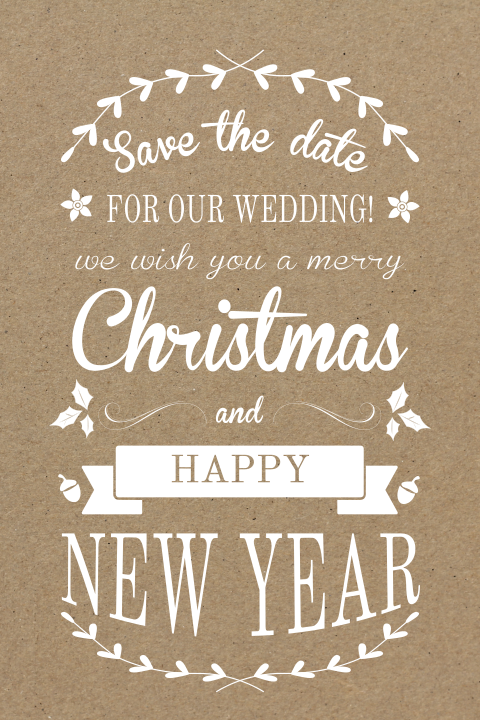 Trendy Save the Date kerstkaart in typografie!