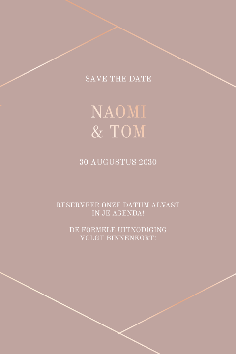 Moderne save the date met rosegoudfolie