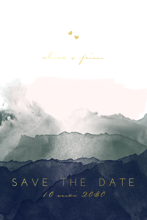 save the date watercolor goudfolie