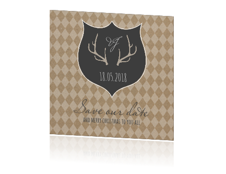 Trendy Save the date kaart op kraftpapier