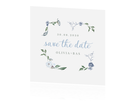 French chic | save the date kaart met blauwe bloempjes