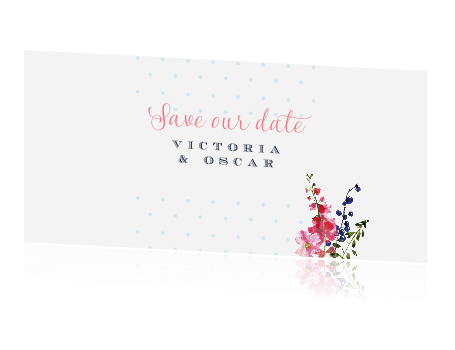 Stipjes en bloemen | save the date