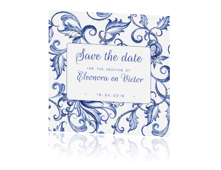 Chique save the date kaart in Delfts blauw