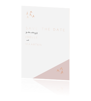 Moderne save the date met goudfolie